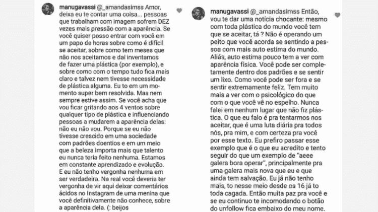 Manu Gavassi rebate seguidora - Reprodução/Instagram - Reprodução/Instagram