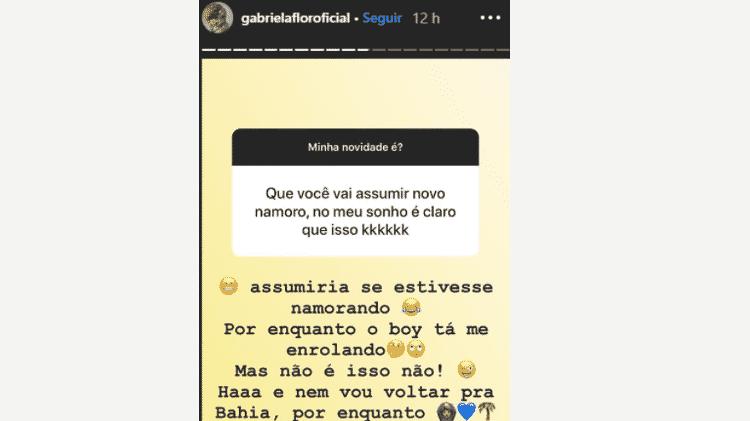 Gabriela Flor responde para seguidor sobre namorado  - Reprodução/Instagram - Reprodução/Instagram