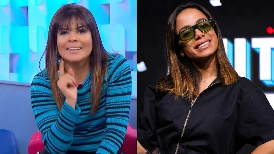 Mara Maravilha diz no Fofocalizando que Anitta precisa ser melhor assessorada sobre a questão da Amazônia - Montagem/UOL/Reprodução/SBT/Instagram/multishow