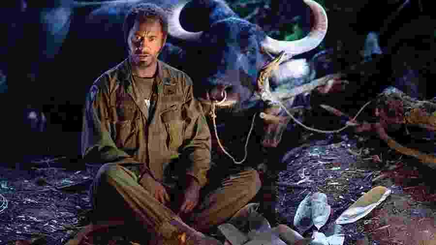 Robert Downey Jr. em cena de Trovão Tropical (2008) - Divulgação/IMDb