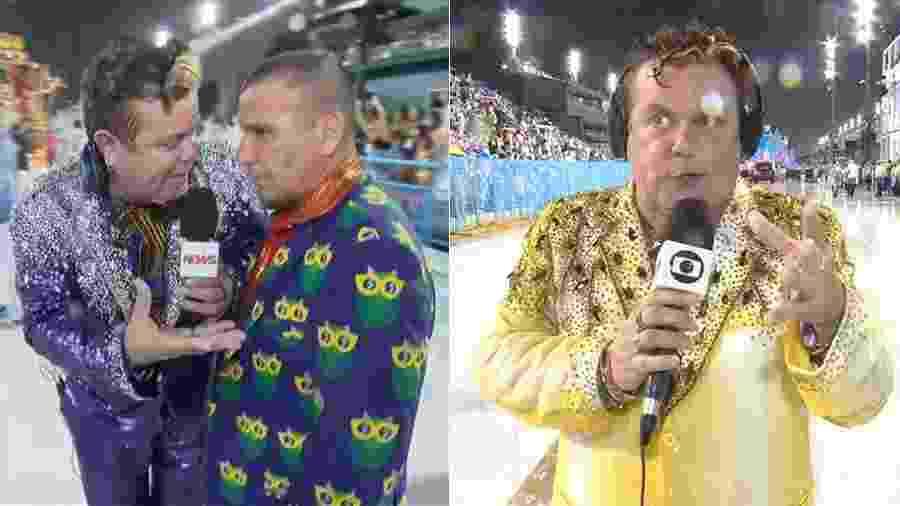 Milton Cunha com terno azul e com terno amarelo durante transmissão do desfile das campeãs - Reprodução/Globo