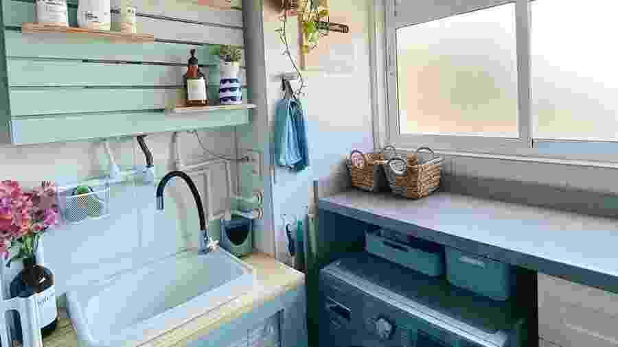 Pequenas mudanças na lavanderia em espaço compacto pode torná-la mais prática e funcional para o dia a dia - Reprodução/Instagram