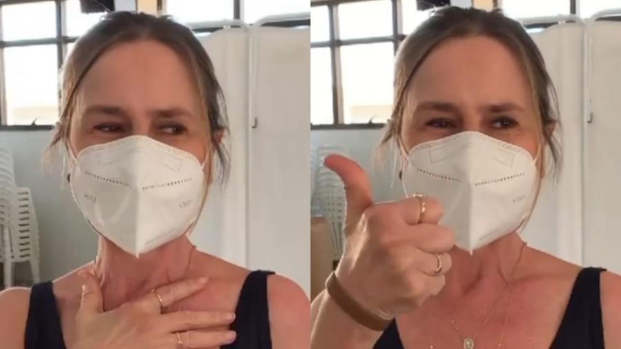 Susana Naspolini, repórter da TV Globo, comemora após tomar segunda dose da vacina contra a covid-19 - Reprodução/Instagram