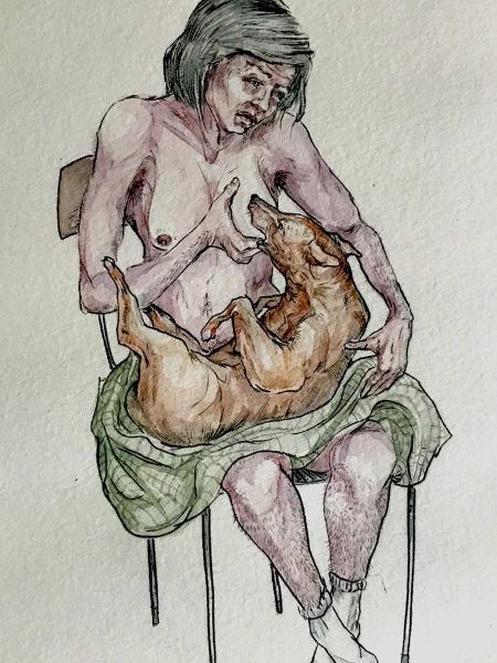 """Sem Título, 2008"" (Gravura aquarelada).  - Lino Arruda / @monstrans_hq  /www.linoarruda.com"