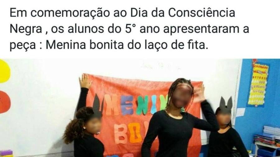 A blackface do Colégio Corrêa Dantas, em Duque de Caxias - Reprodução/Facebook