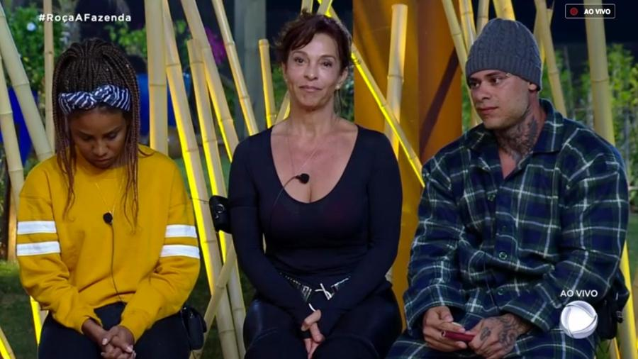 Luane Dias, Vida Vlatt e Léo Stronda formam a primeira roça  - Reprodução/RecordTV