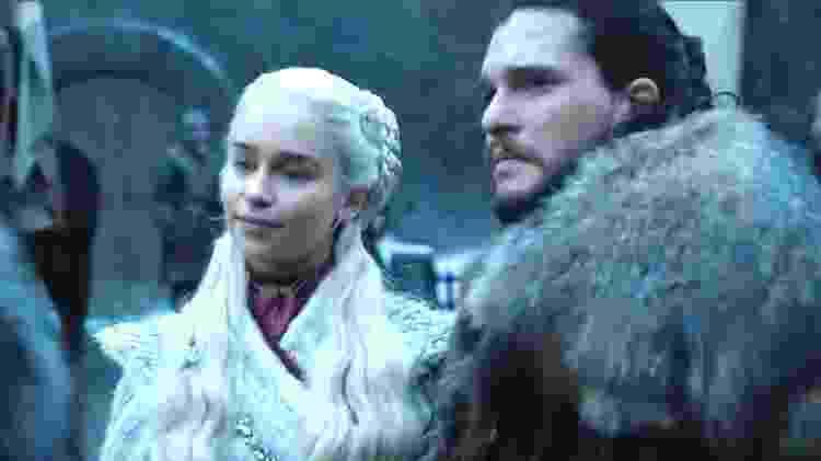 """Daenerys e Jon Snow em cena de """"Game of Thrones"""" divulgada pela HBO - Reprodução - Reprodução"""
