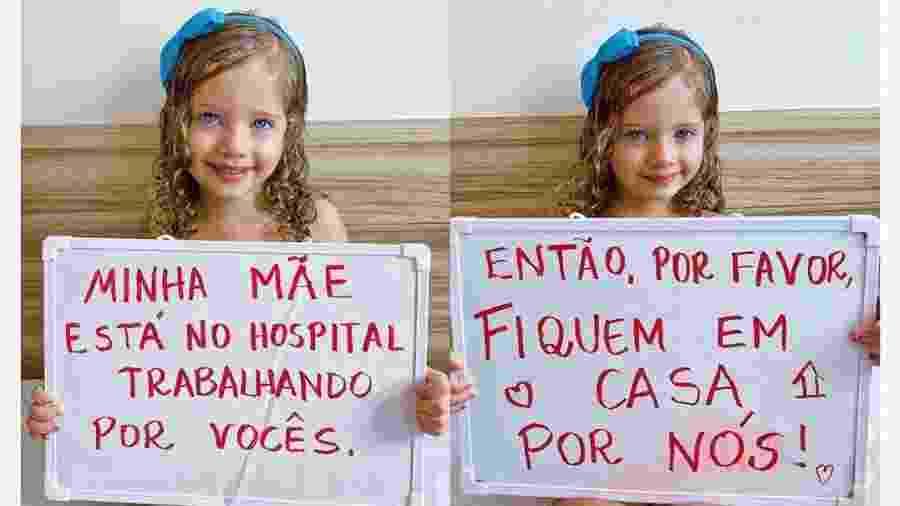 Clara, de 3 anos, faz cartaz para mãe enfermeira, contra coronavírus - Reprodução/Instagram @diarioda_clarinha