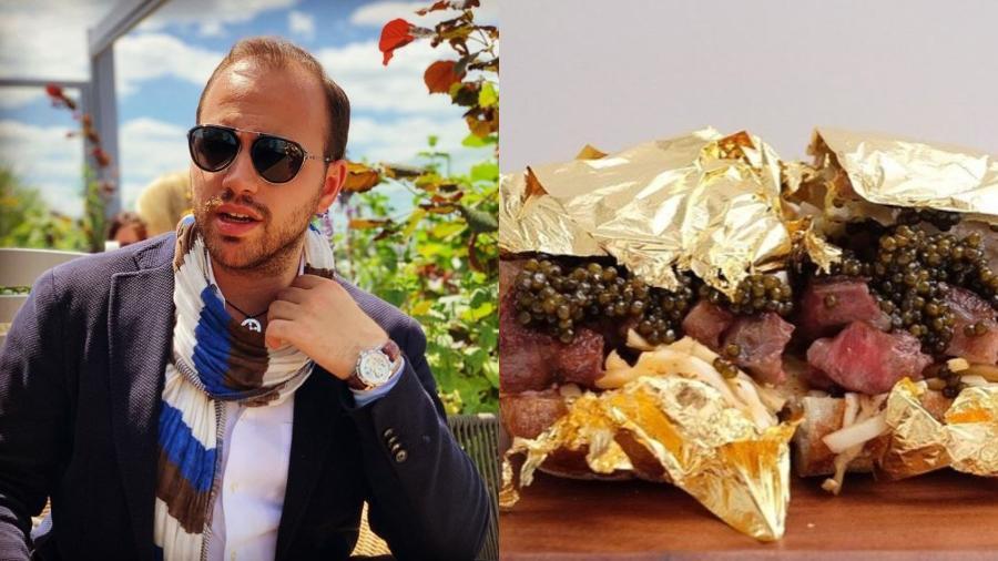 Andrea Zagatti abriu seu próprio negócio há duas semanas e já tem uma opção chamativa no cardápio: sanduíche coberto com folhas de ouro - Reprodução/Instagram/@mrz.luxurysandwiches e @mr.zagatti