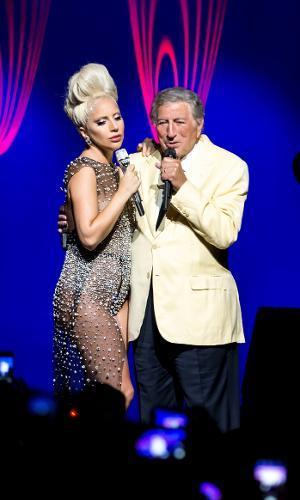 6.jul.2015 - Tony Bennett e Lady Gaga se apresentam no 49º Festival de Jazz de Montreux, na Suíça