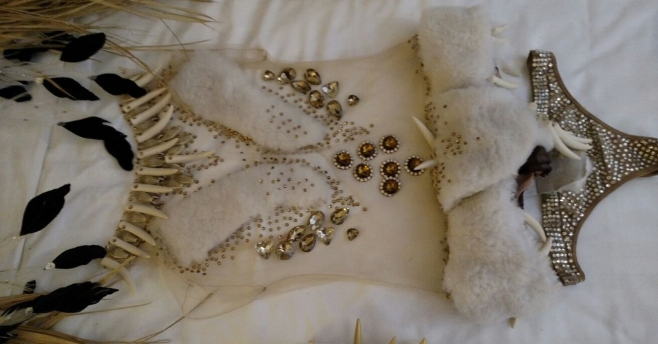 5.fev.2016 - A fantasia de Cozete Gomes para a Rosas de Ouro tem cristais importados da República Checa, pele de carneiro e penas de faisão albino. A bota é assinada por Fernando Pires.