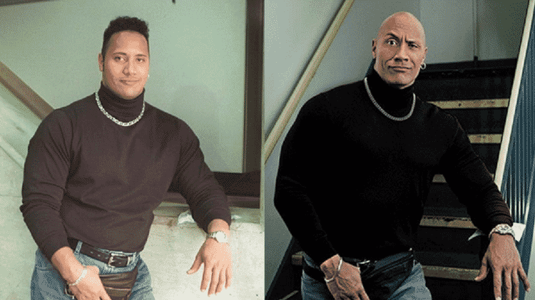 "O antes e depois do astro ""The Rock"" - Reprodução/Instagram - Reprodução/Instagram"