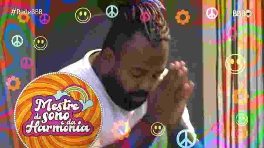 """""""BBB19"""" brincou nesta terça (12) com Rodrigo, chamando-o de """"mestre do sono e da harmonia"""" - Reprodução / TV Globo"""