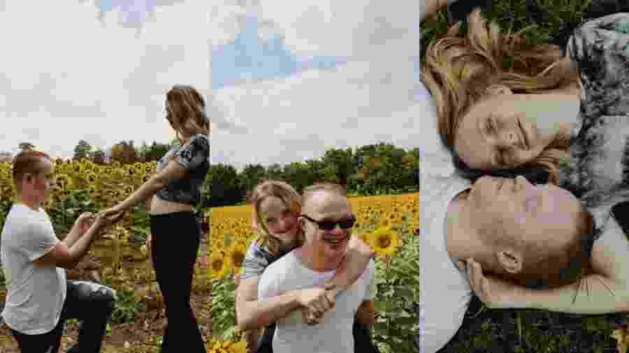 Jovens com síndrome de Down ficam noivos em campo de girassóis e emocionam - reprodução/Facebook
