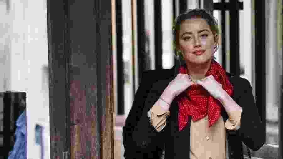"""Amber Heard já depôs na Suprema Corte, em Londres - NIKLAS HALLE""""N/AFP"""