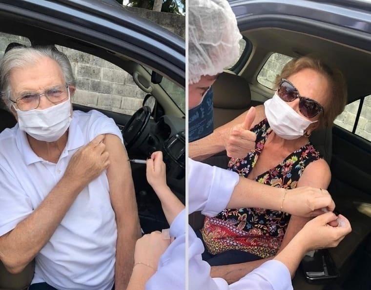 Tarcísio Meira e Glória Menezes recebem segunda dose da vacina - Reprodução/Instagram @_tarcisiomeira