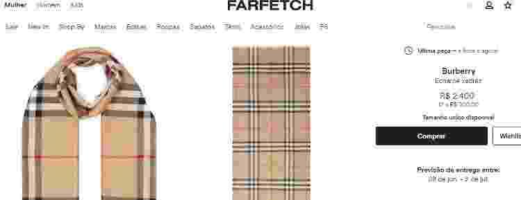Cachecol Burberry - Reprodução/Farfetch - Reprodução/Farfetch