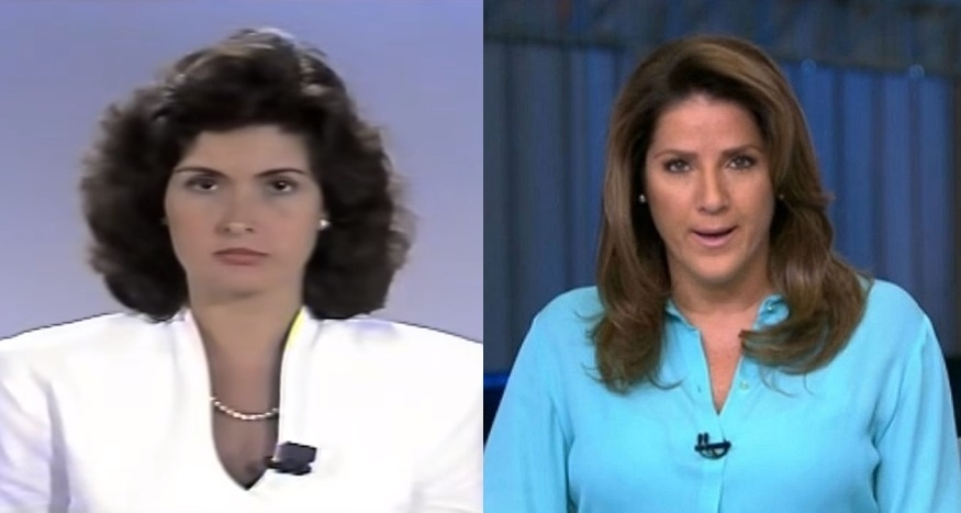 À esquerda, Fátima Bernardes apresenta o