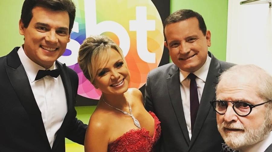 Nos bastidores do Troféu Imprensa: Celso Portiolli, Eliana, Roberto Cabrini e Jô Soares - Reprodução/Instagram/celsoportiolli
