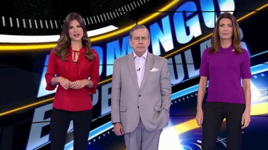 """Thatiana Brasil apresenta o """"Domingo Espetacular"""" ao lado de Paulo Henrique Amorim e Janine Borba - Reprodução/Record"""