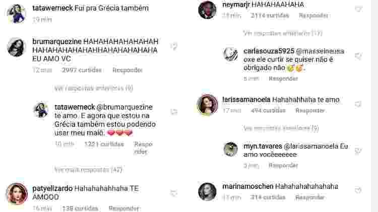 Bruna Marquezine e Neymar, entre outros famosos, se divertiram com a montagem de Tatá Werneck - Reprodução/Instagram - Reprodução/Instagram