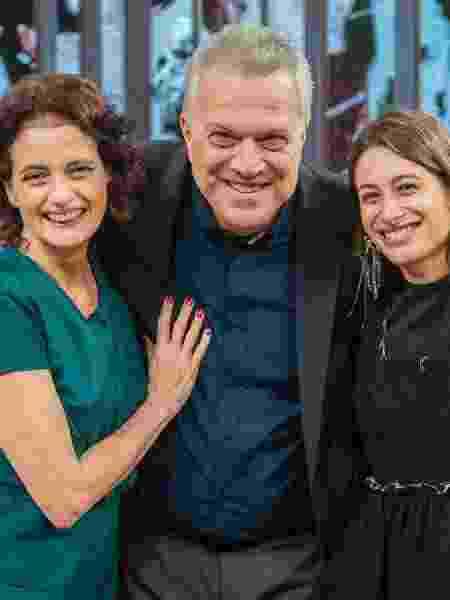 Denise Fraga, Pedro Bial e Luisa Arraes no programa desta quinta - Fábio Rocha TV Globo