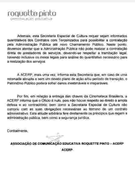 Fac-símile do ofício da Roquette Pinto enviado ao secretário Mário Frias - Reprodução