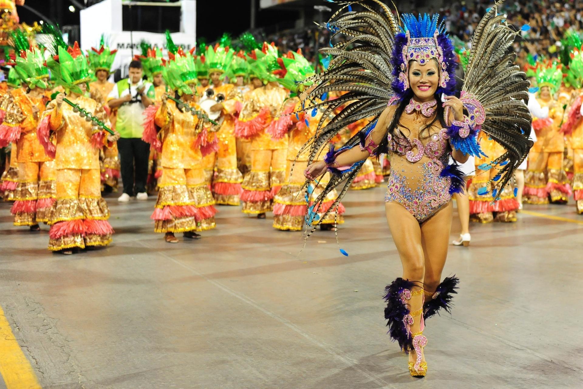 13.fev.2016 - Com o título, a Mancha Verde garantiu seu retorno ao Grupo Especial do Carnaval de São Paulo em 2017