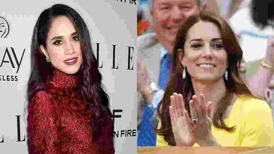 Meghan Markle, namorada do príncipe Harry, e Kate Middleton - Getty Images e AFP/Montagem UOL