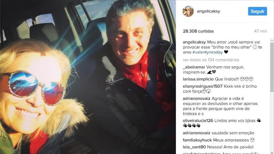 """Angélica compartilhou uma foto com os olhos literalmente brilhando para se declarar ao marido, Luciano Huck, no Valentine""""s Day. """"Meu amor, você sempre vai provocar esse """"brilho no meu olhar""""  te amo"""", escreveu - Reprodução/Instagram"""