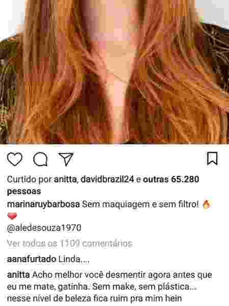 Anitta comenta foto de Marina Ruy Barbosa - Reprodução/Instagram - Reprodução/Instagram
