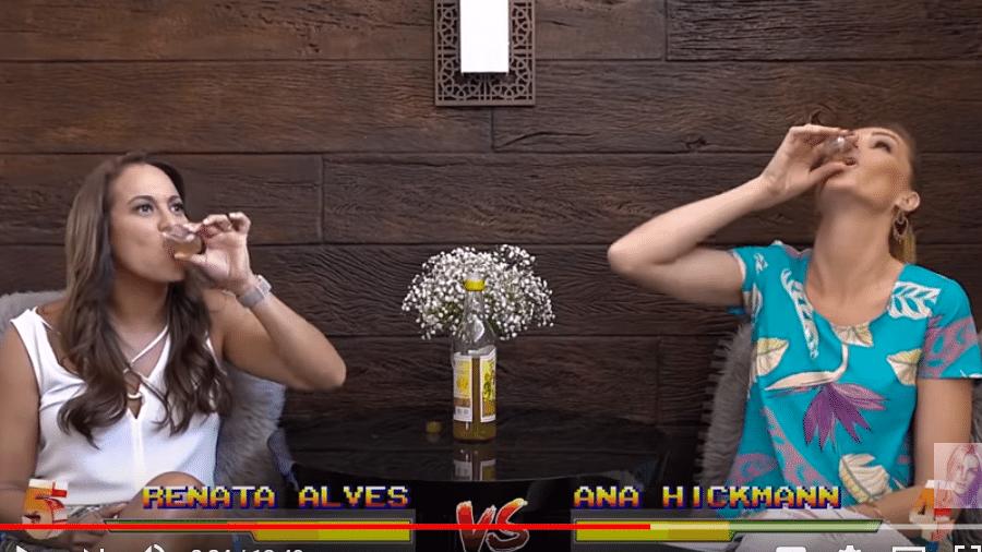 Renata Alves e Ana Hickmann bebem dose de cachaça - Reprodução/YouTube