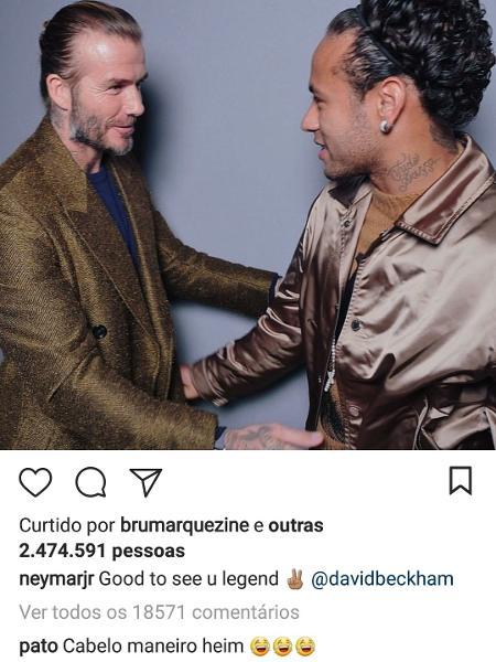 """Pato """"zoa"""" cabelo de Neymar no Instagram - Reprodução/Instagram/neymarjr"""
