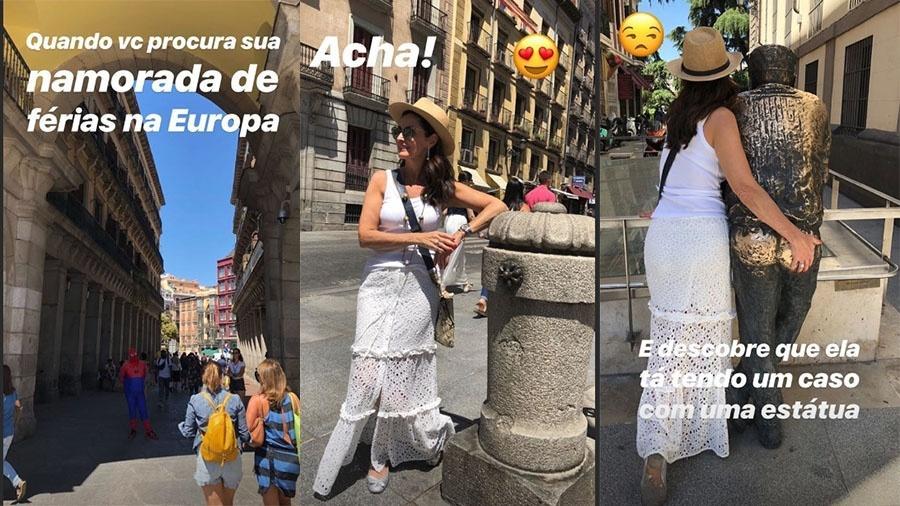 Túlio Gadêlha brinca com Fátima Bernardes em série de fotos da apresentadora na Europa - Reprodução/Instagram/@tulio.gadelha