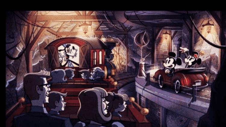 Projeção da atração Mickey & Minnie's Runaway Railway - Divulgação/Disney  - Divulgação/Disney