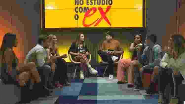 Any, Miguel, Vini, Fernanda, Mylena e Tati participam da live após o último episódio na MTV - Reprodução/MTV - Reprodução/MTV
