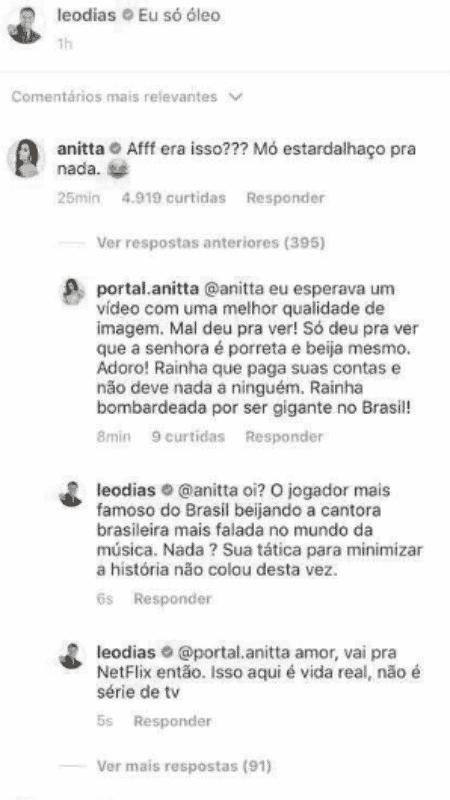 Léo Dias e Anitta discutem no Instagram - Reprodução/Instagram - Reprodução/Instagram