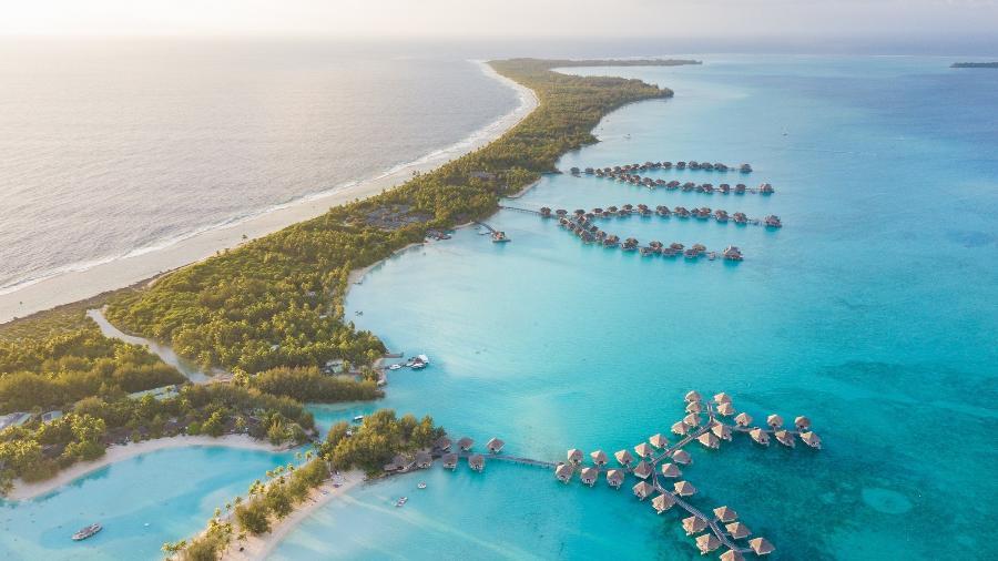 Vista aérea de Bora Bora, Polinésia Francesa  - Getty Images/iStockphoto