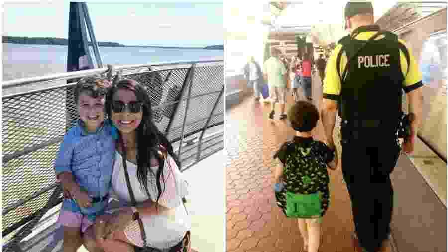 Taylor e seu filho Andrew foram ajudados por segurança do metrô - Facebook/Reprodução