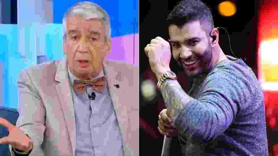 """Gusttavo Lima rebate Décio Piccinini após ser chamado de """"demagogo"""" no Fofocalizando - Reprodução/SBT"""