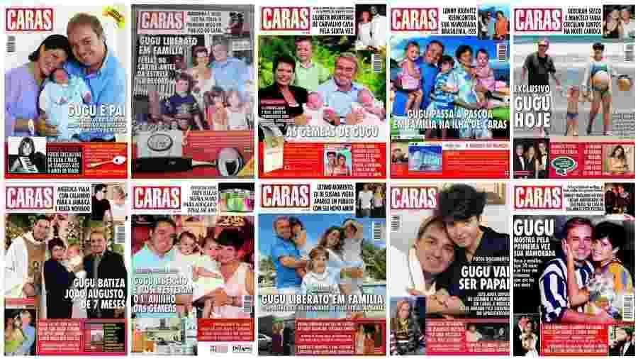 """Gugu Liberato e Rose Miriam em uma dezena de capas da revista """"Caras"""" entre 1994 e 2009 - Reprodução"""