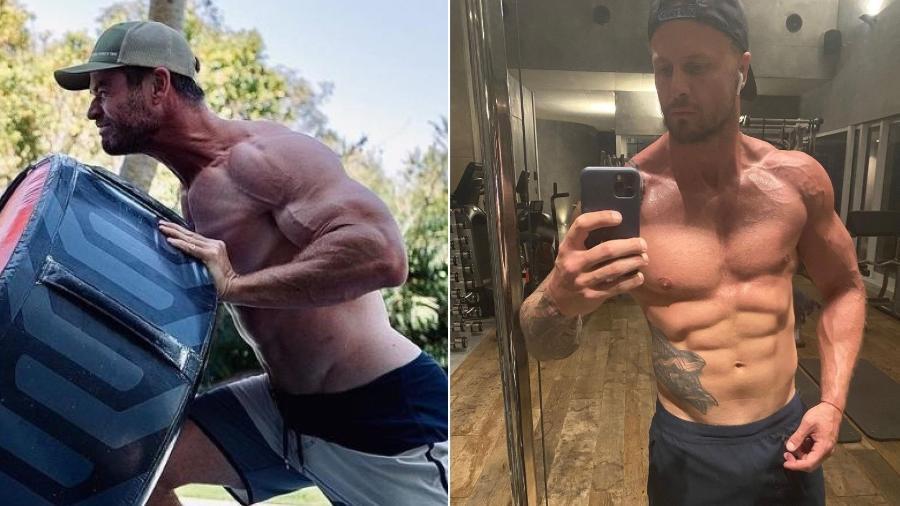 Chris Hemsworth (à esq.) e o seu dublê, Bobby Holland Hanton - Reprodução/Instagram