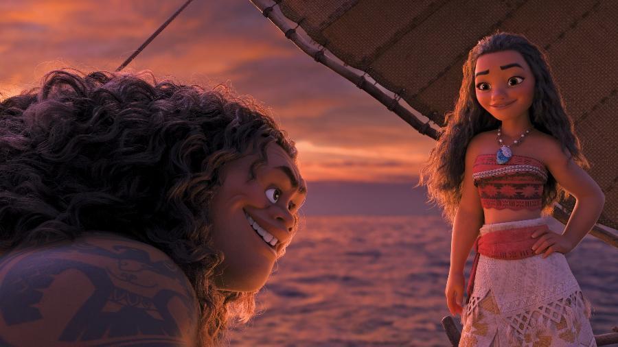 """Moana e Maui em em cena de """"Moana"""", a mais nova animação da Disney - Divulgação"""