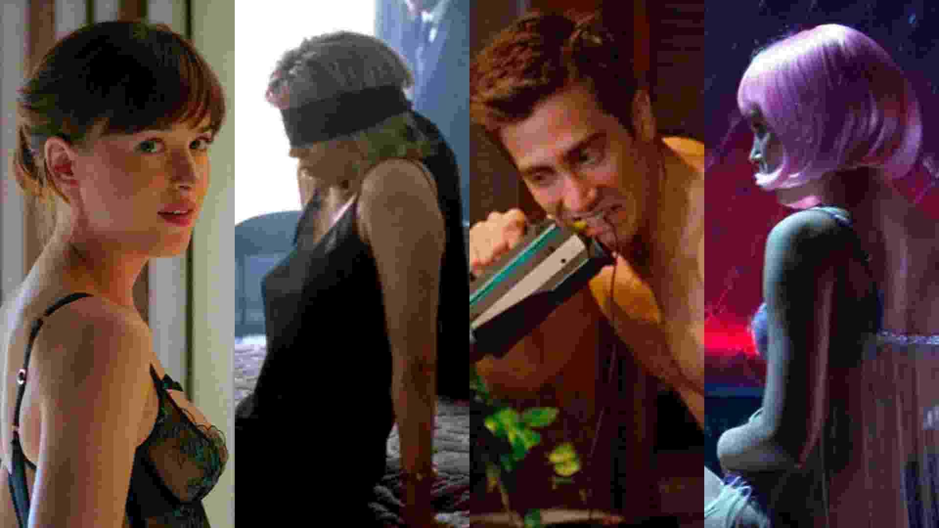 """Cenas dos filmes """"Cinquenta Tons Mais Escuros"""" (2017), de James Foley; """"9 1/2 Semanas de Amor"""" (1986), de Adrian Lyne; """"Amor e Outras Drogas"""" (2010), de Edward Zwick e """"Closer: Perto Demais"""" (2004), de Mike Nichols - Reprodução/Montagem"""
