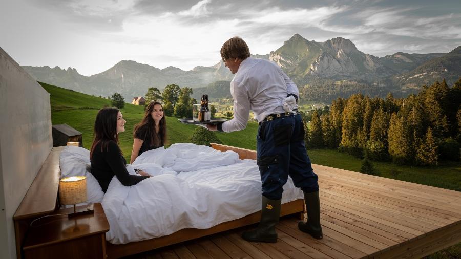 Os hóspedes do Zero Real Estate dormem entre as montanhas e são servidos por mordomos - Divulgação/Toggenburg Tourism