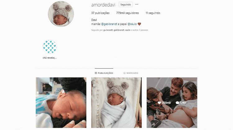 Perfil no Instagram de Davi, filho de Saulo Poncio e Gabi Brandt - Reprodução/Instagram - Reprodução/Instagram