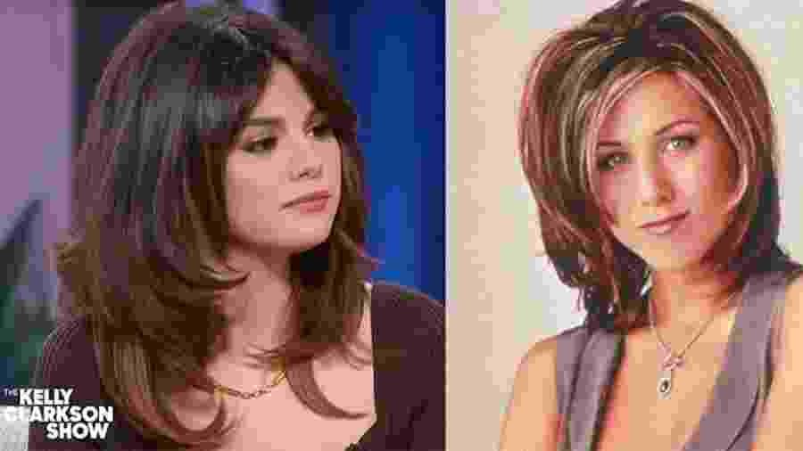 Selena Gomez com look inspirado em Rachel, de Friends - Reprodução e Divulgação