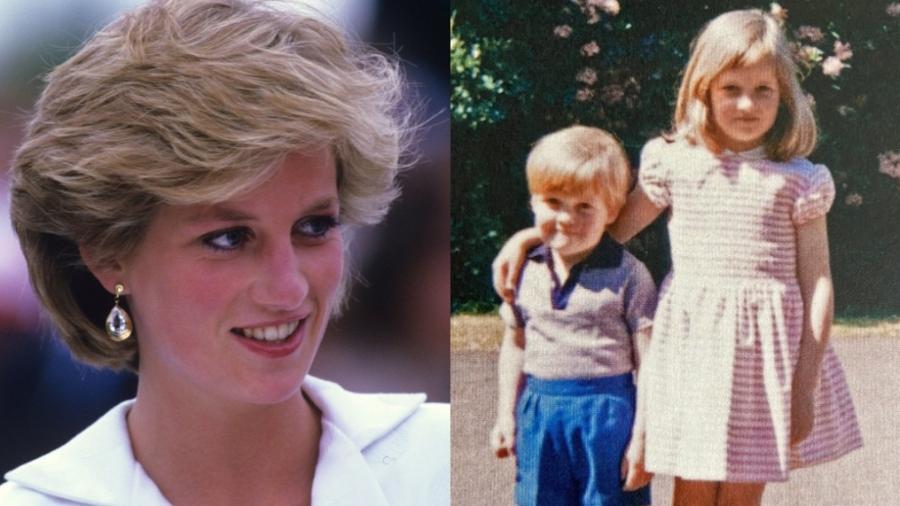 Diana e o irmão mais novo, Charles Spencer - Reprodução/Twitter