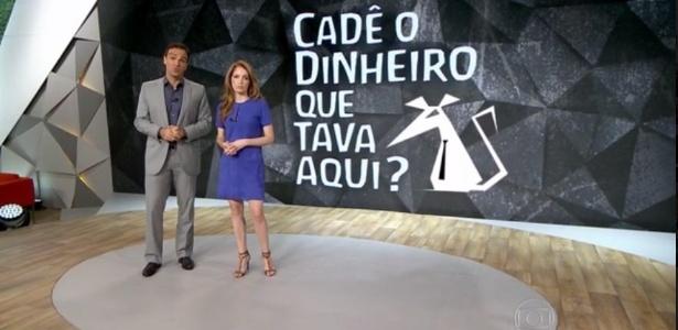 """Tadeu Schimdt e Poliana Abritta, os âncoras do """"Fantástico"""", que melhorou no ibope - Reprodução/TV Globo"""