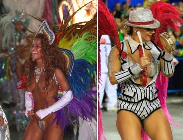 Viviane Araújo como destaque na Escola de Samba União da Ilha, em 1999, e como Rainha de bateria da Salgueiro este ano